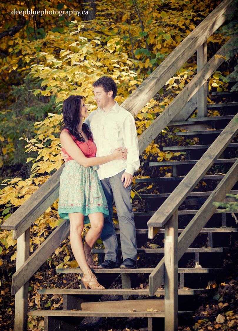 Engagement Photos on the Emily Murphy Park staircase