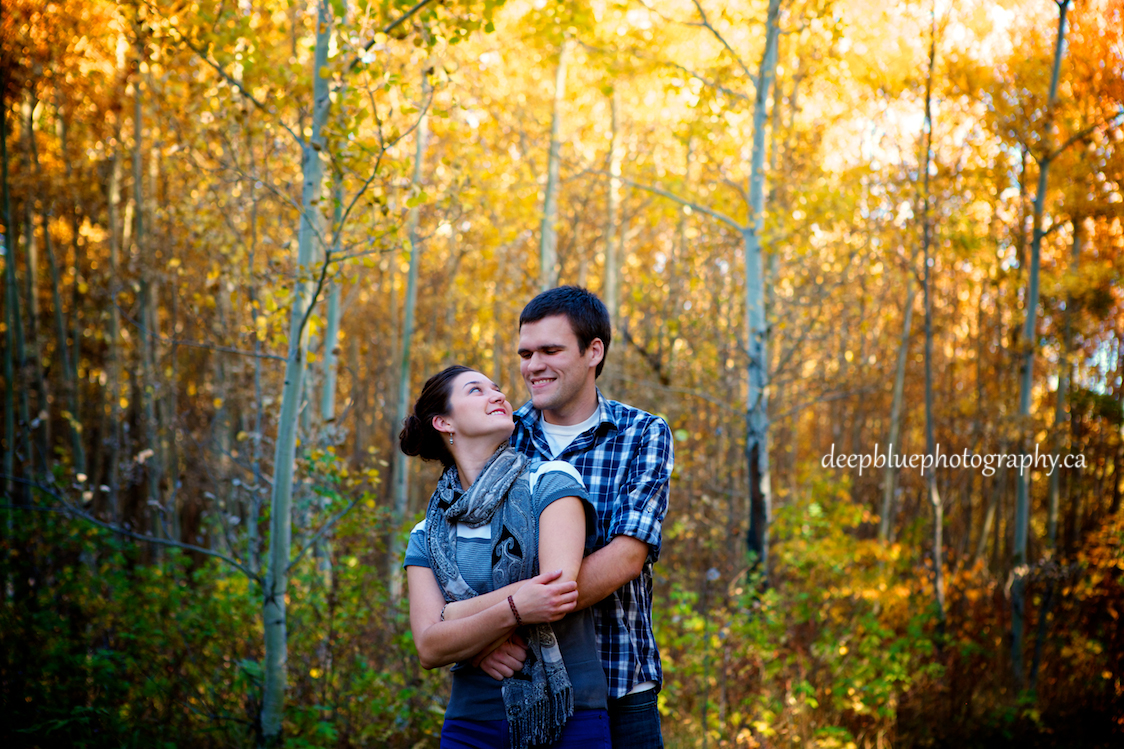 Photo of Couple Holding Each Other During Blackfoot Trails Engagement Pictures.