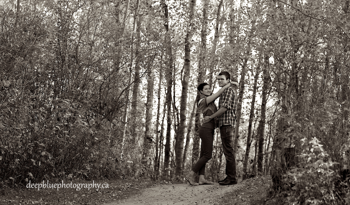 Blackfoot Trails Engagement Pictures With Chris and Natalie Embracing.