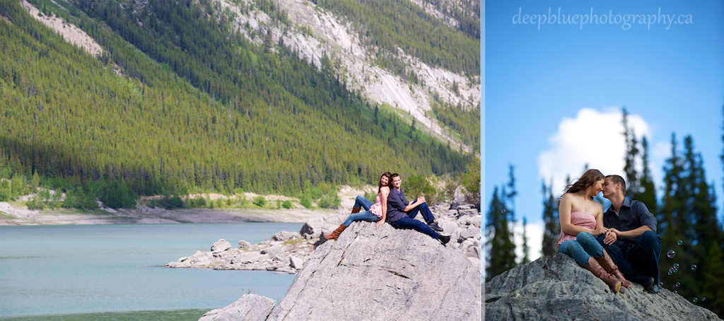 Photo of Couple Sitting on the Rocks at Medicine Lake During Their Engagement Pictures In Jasper National Park