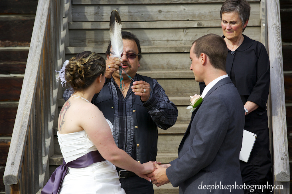 Photo of Smudge Ceremony During the Wedding Clerks Quarters Wedding Edmonton