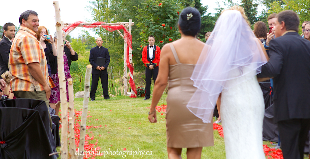 Photo of the Bride Walking Down the Aisle At A Country Wedding In Wetaskiwin