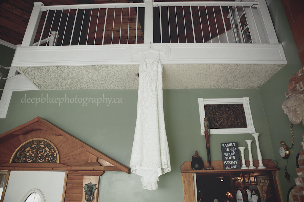 Hannah's Wedding Gown Hanging in Loft