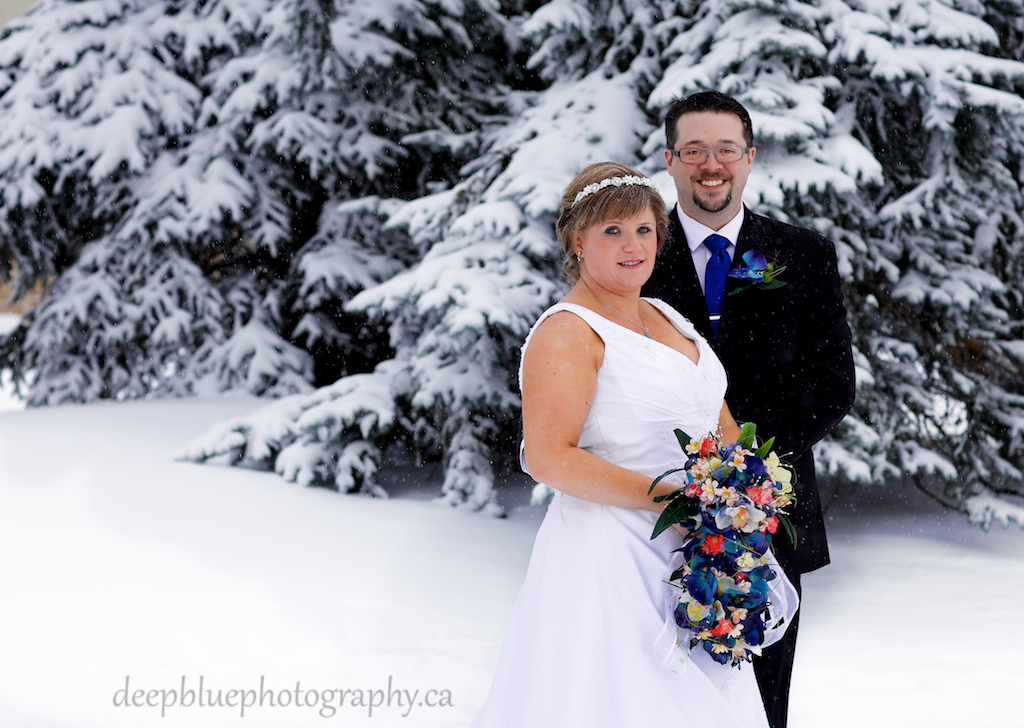 Bride And Groom Picture From A Winter Wedding Edmonton