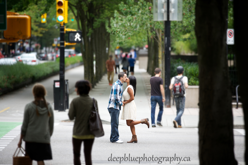 Downtown Vancouver Engagement Picture