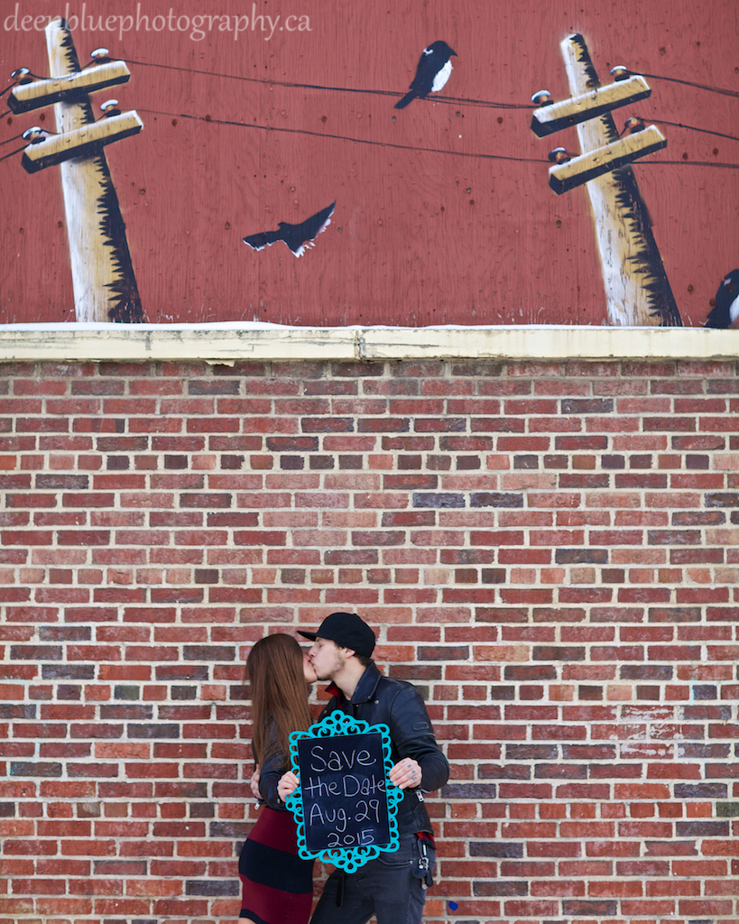 Save the Date Photo with Graffiti Wall During An Old Strathcona Engagement Photos Edmonton