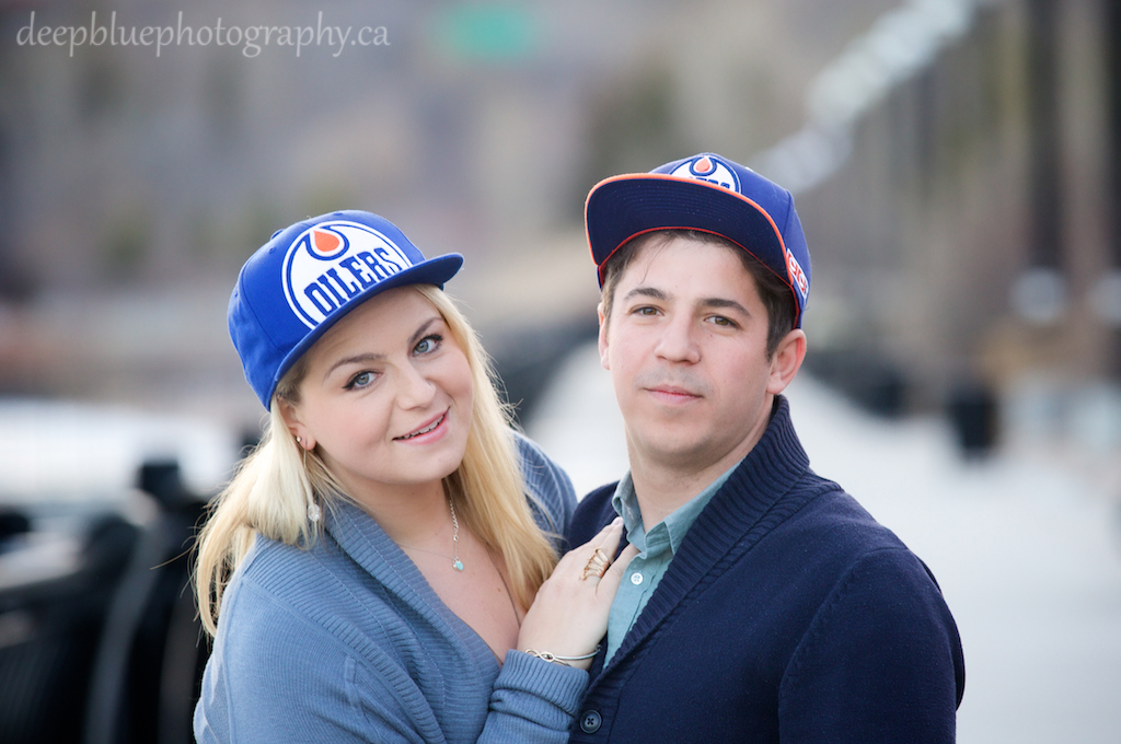 Megan and John in Oilers Hats