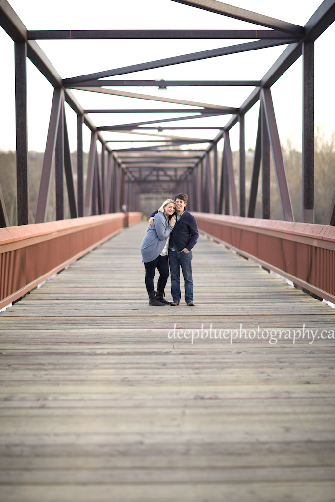 Megan and John Bridge Engagement Photo - Louise McKinney Park Engagement Photography