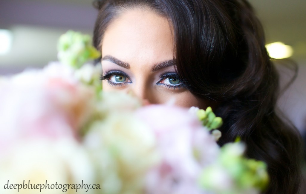 Edmonton Lebanese Wedding Photography - Photo of Bride and her Flowers