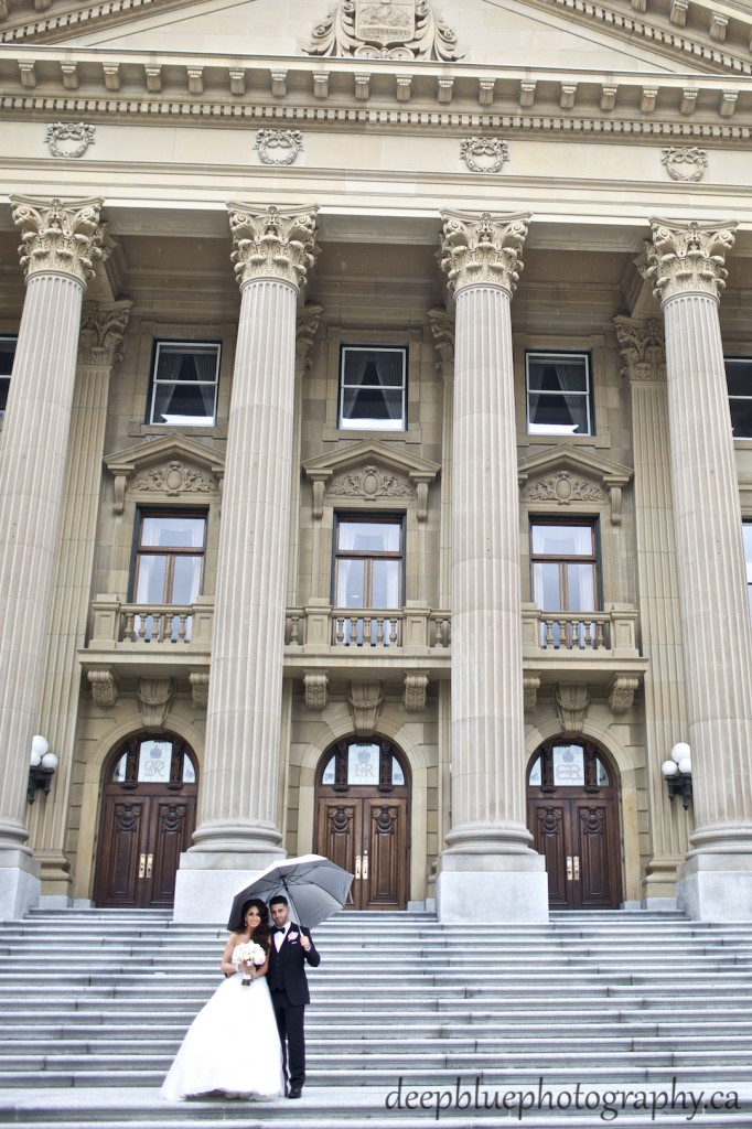 Wedding Portrait of Couple Standing on the Legislature Steps