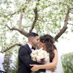 Bride and Groom Spring Wedding Portrait with Cherry Blossoms