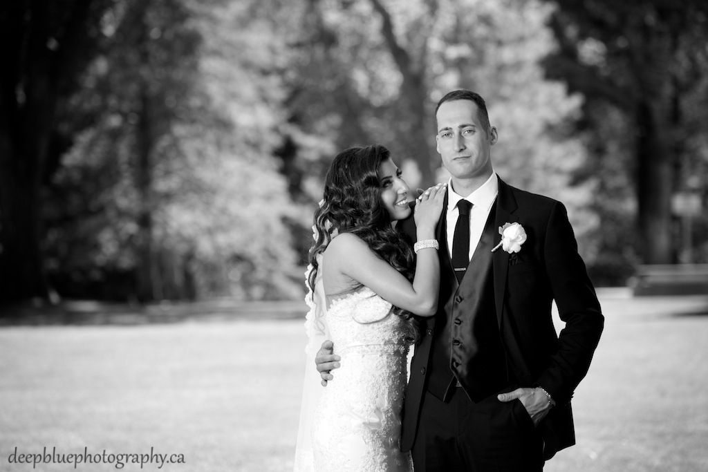 Photo of bride and groom at the Legislature Gardens