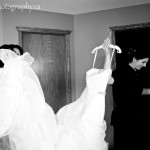Alannah and her bridemaid with the wedding dress