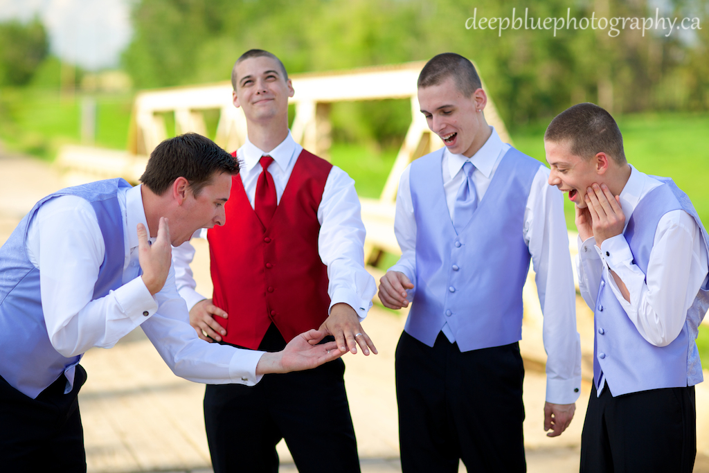 Roland and the groomsmen goofing off