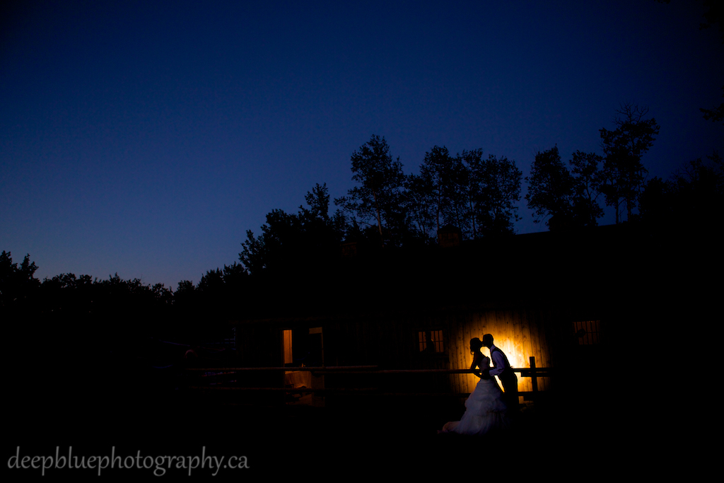 Bride and groom night time portraits