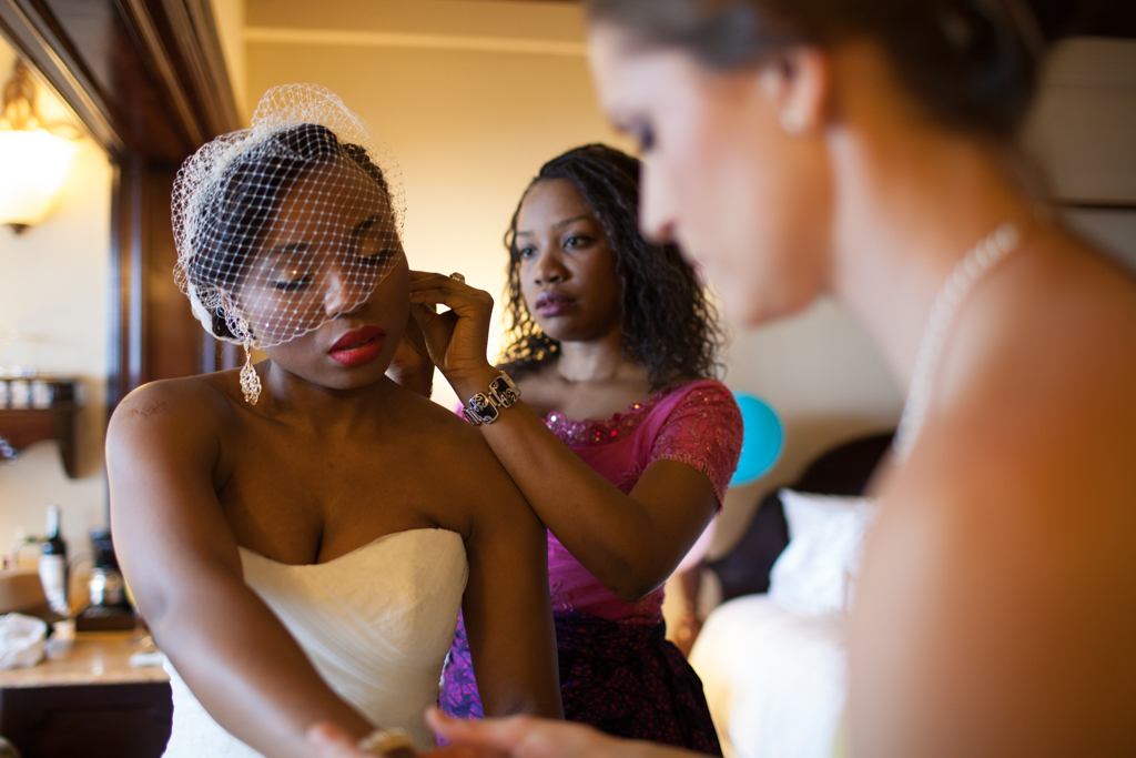 Bride getting ready with ladies