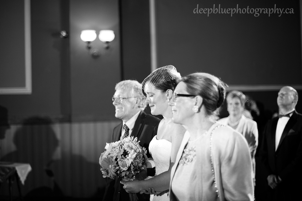 Bride Walking with Parents Princess Theatre Wedding
