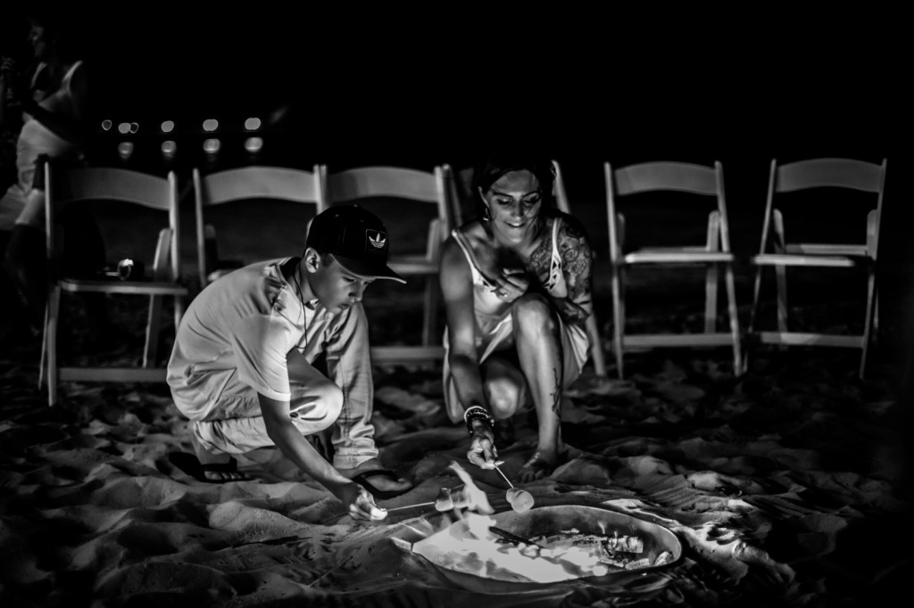 Destination Wedding Photographers Edmonton - Destination Wedding Bonfire on Beach