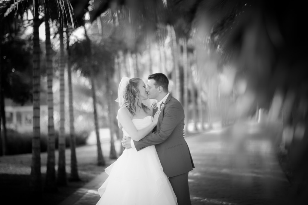 Bride and Groom with Palm Trees