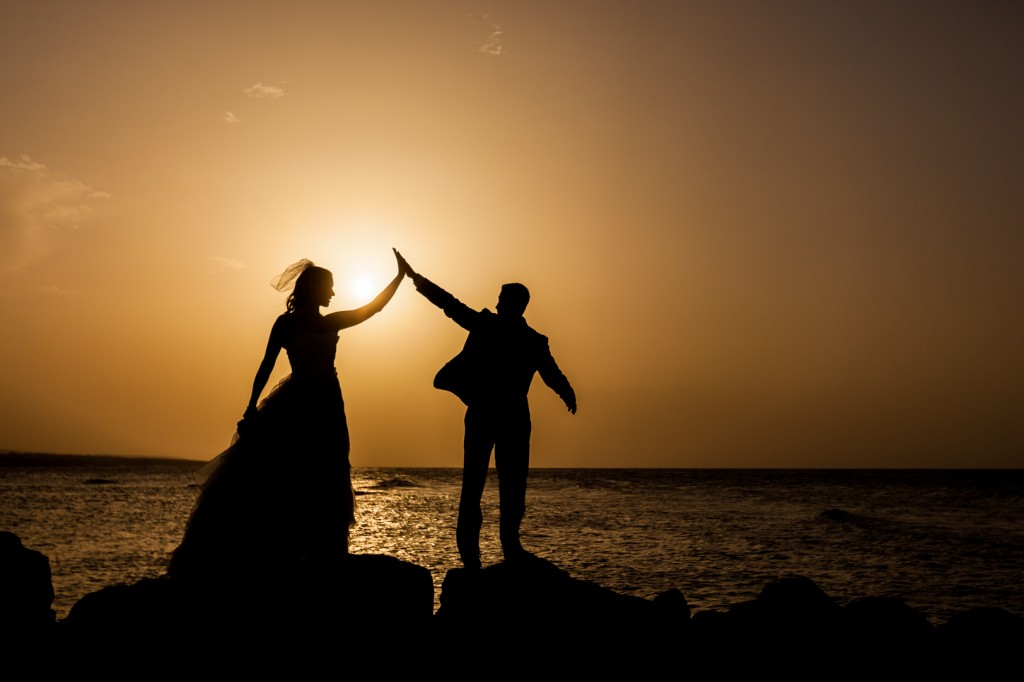 Sunset Bride and Groom Wedding Photo