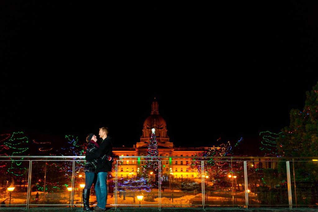 A Surprise Winter Proposal Edmonton At The Legislature