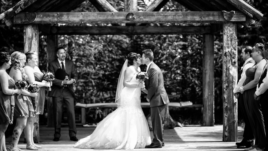 Lions Garden Wedding Ceremony First Kiss Picture