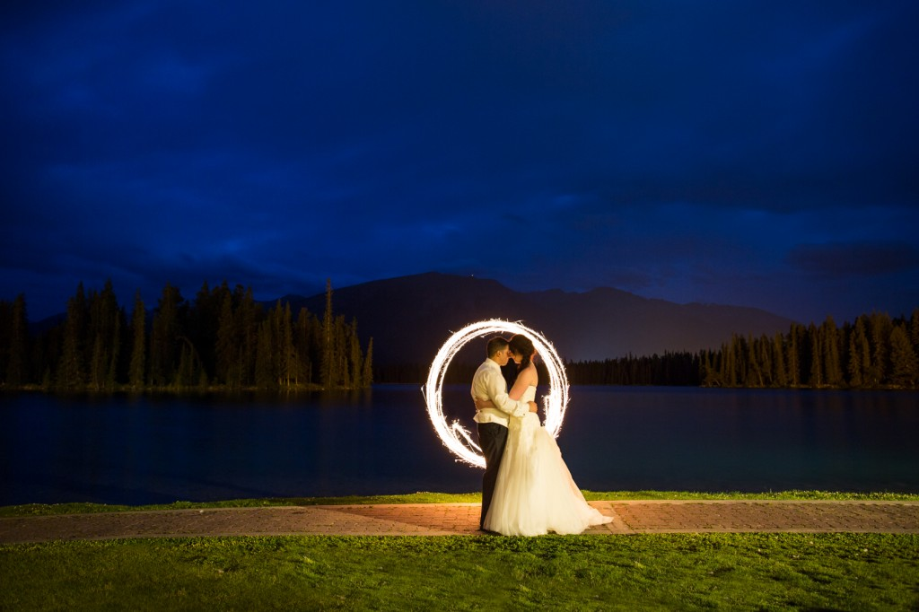 Wedding Portrait with Sparklers