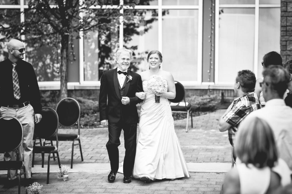 Father Walking Bride Down Aisle - La Cite Francophone Wedding