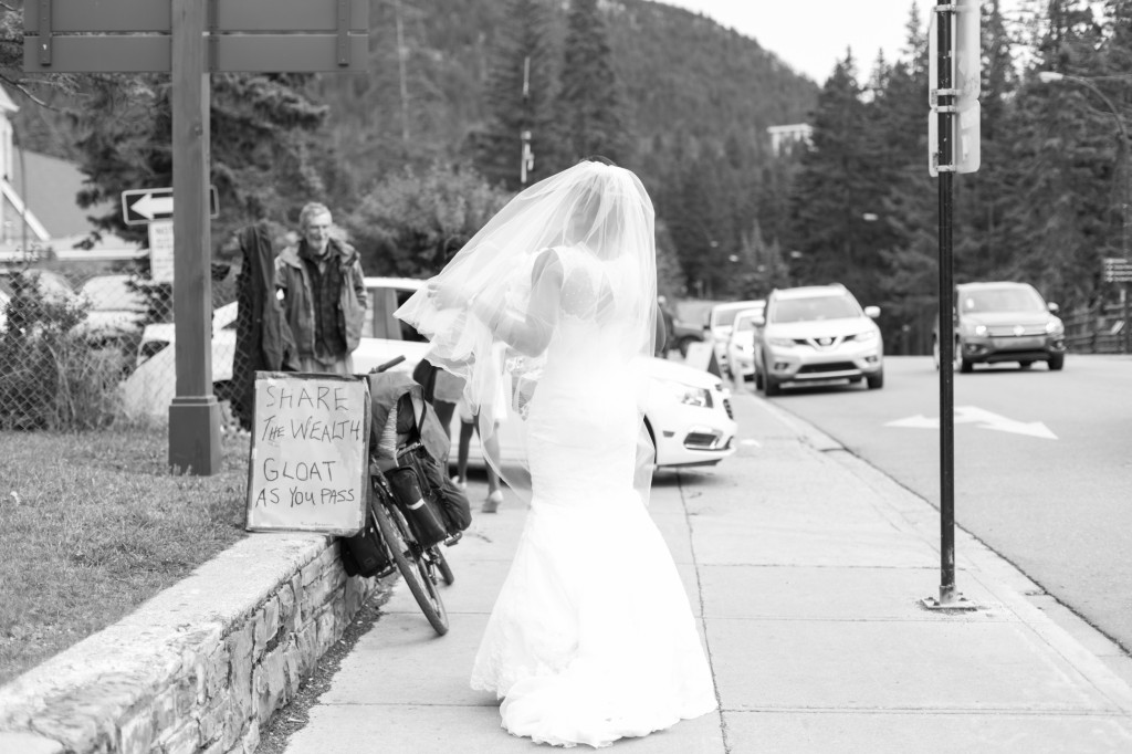 Photo of Bride on Sidewalk