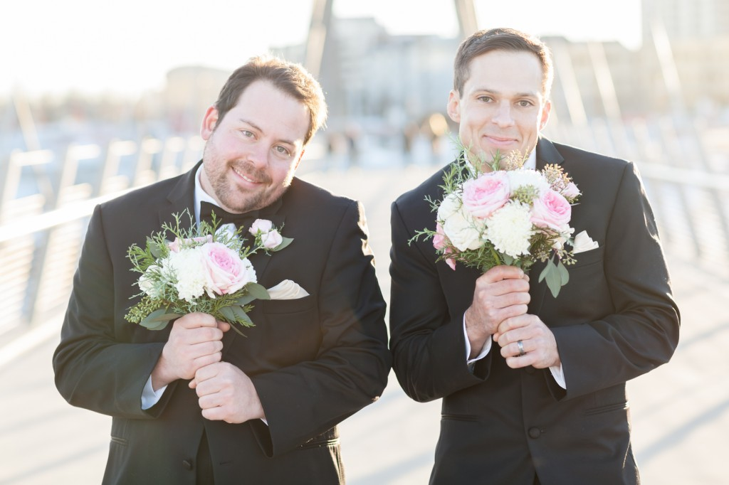 Photo of Groomsmen with Bouquets