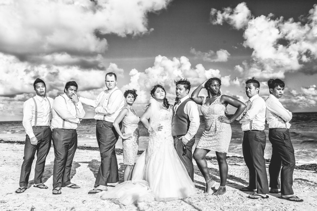 Wedding Party Photo - dreams cancun destination wedding