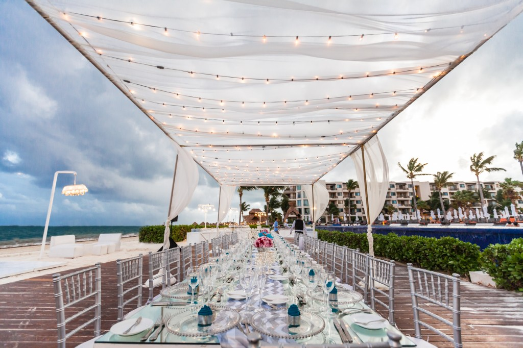 dreams cancun destination wedding beach reception