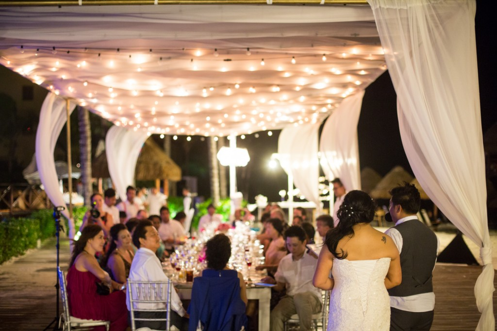 dreams cancun destination wedding reception outdoors
