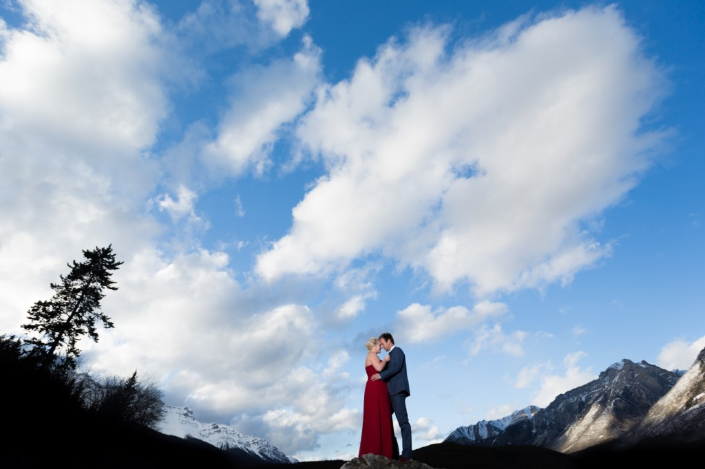 Mountain engagement photos in Banff National Park