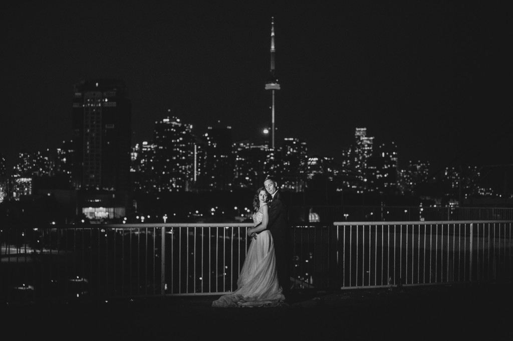 Wedding Photos with Downtown Toronto at Night
