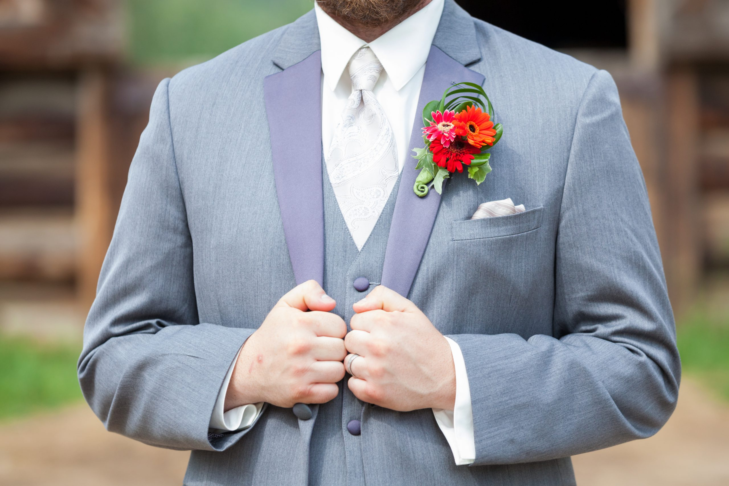 Red Daisy Boutonniere