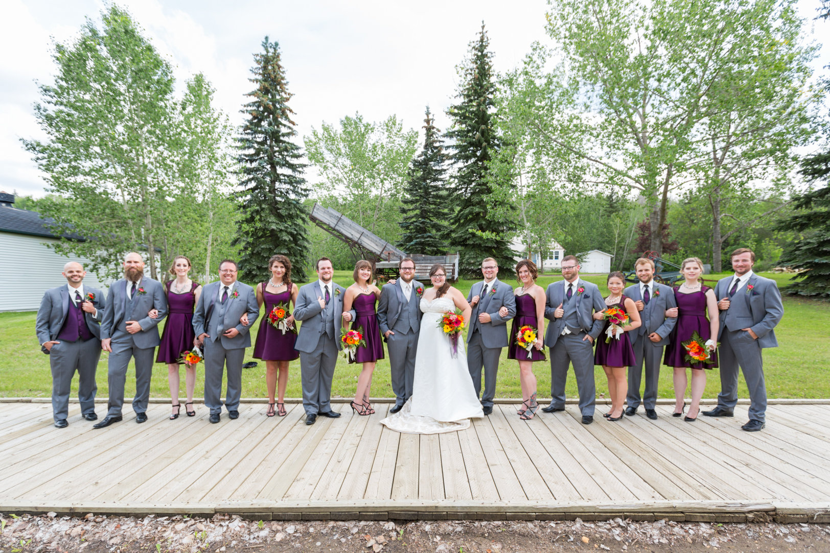 Purple and Grey Wedding Party Colours