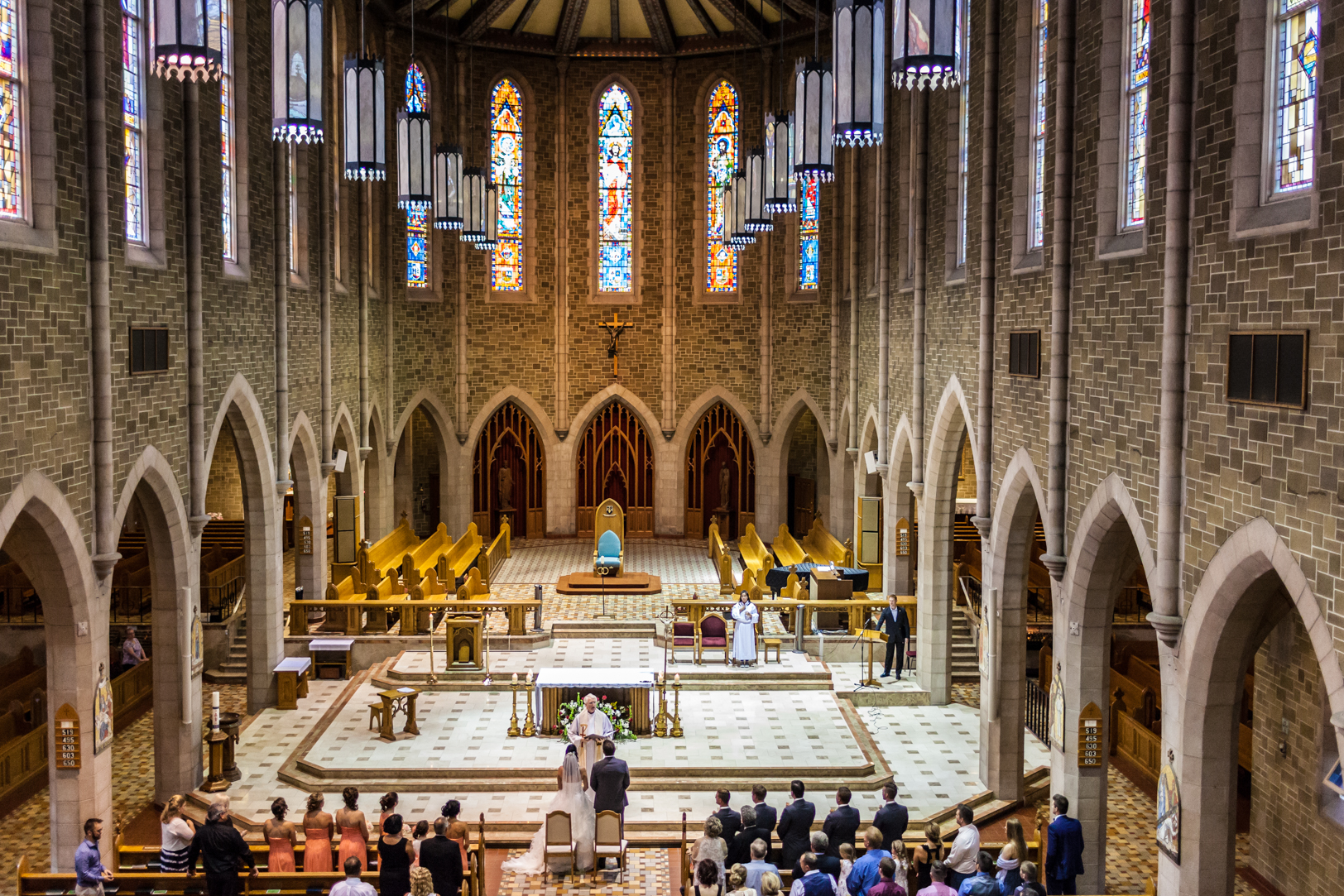 View from the balcony at a St Joseph Basilica Wedding in Edmonton