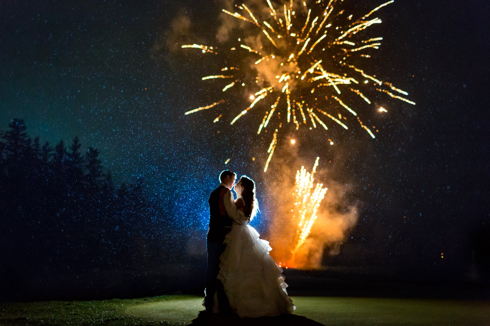 Night Wedding Photos with Fireworks