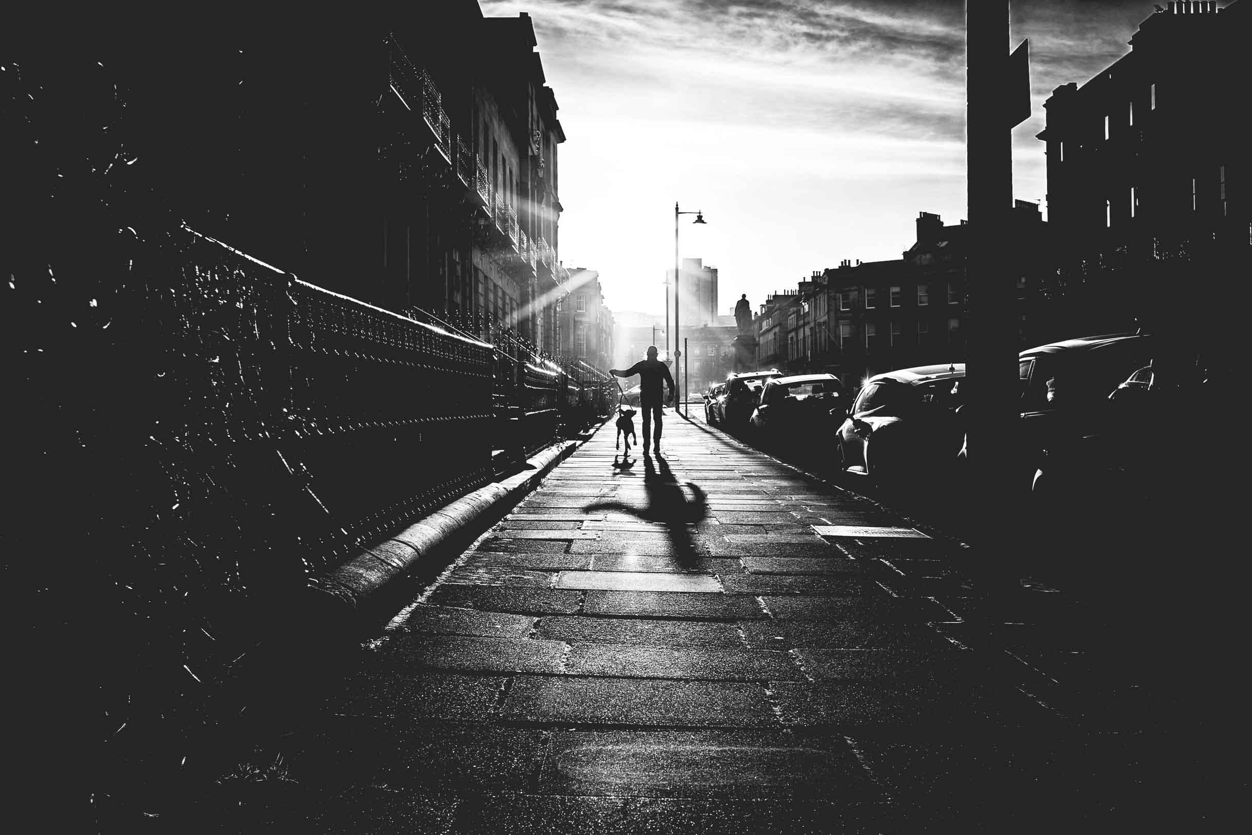Picture Taken While Exploring Edinburgh - Man Walking His Dog