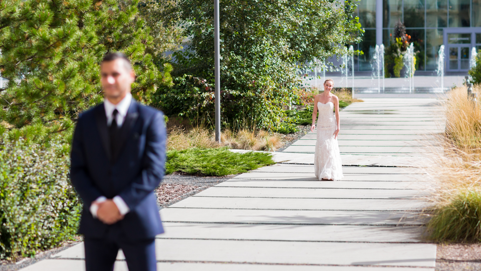 first look photos of bride and groom