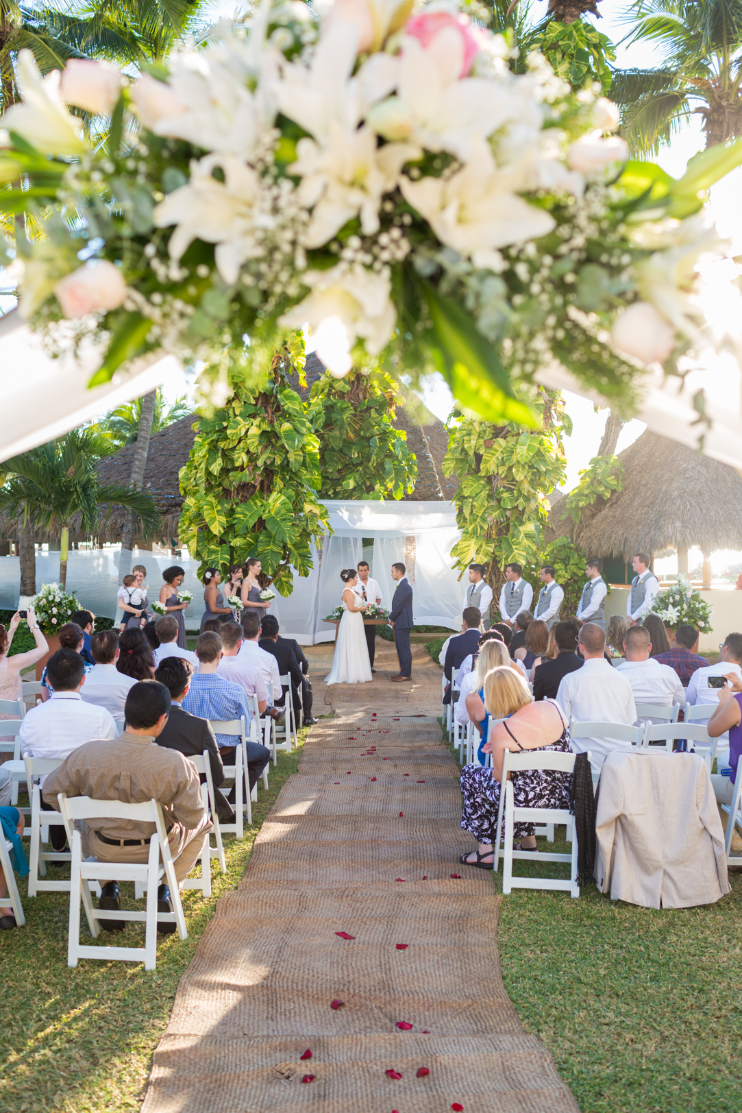Sunscape Dorado Pacifico Ixtapa destination wedding ceremony picture down the aisle
