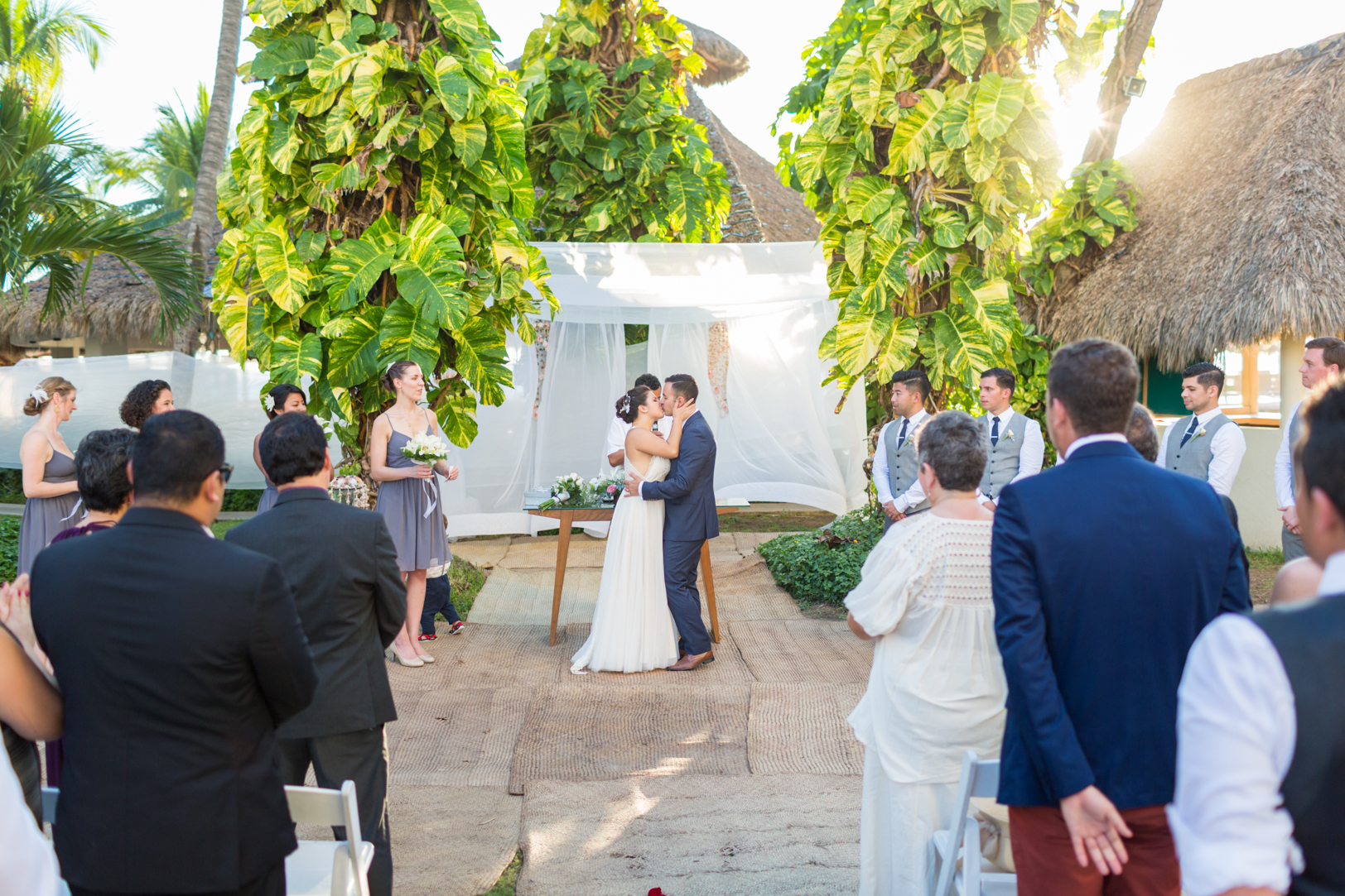 First kiss at a Sunscape Dorado Pacifico Ixtapa destination wedding
