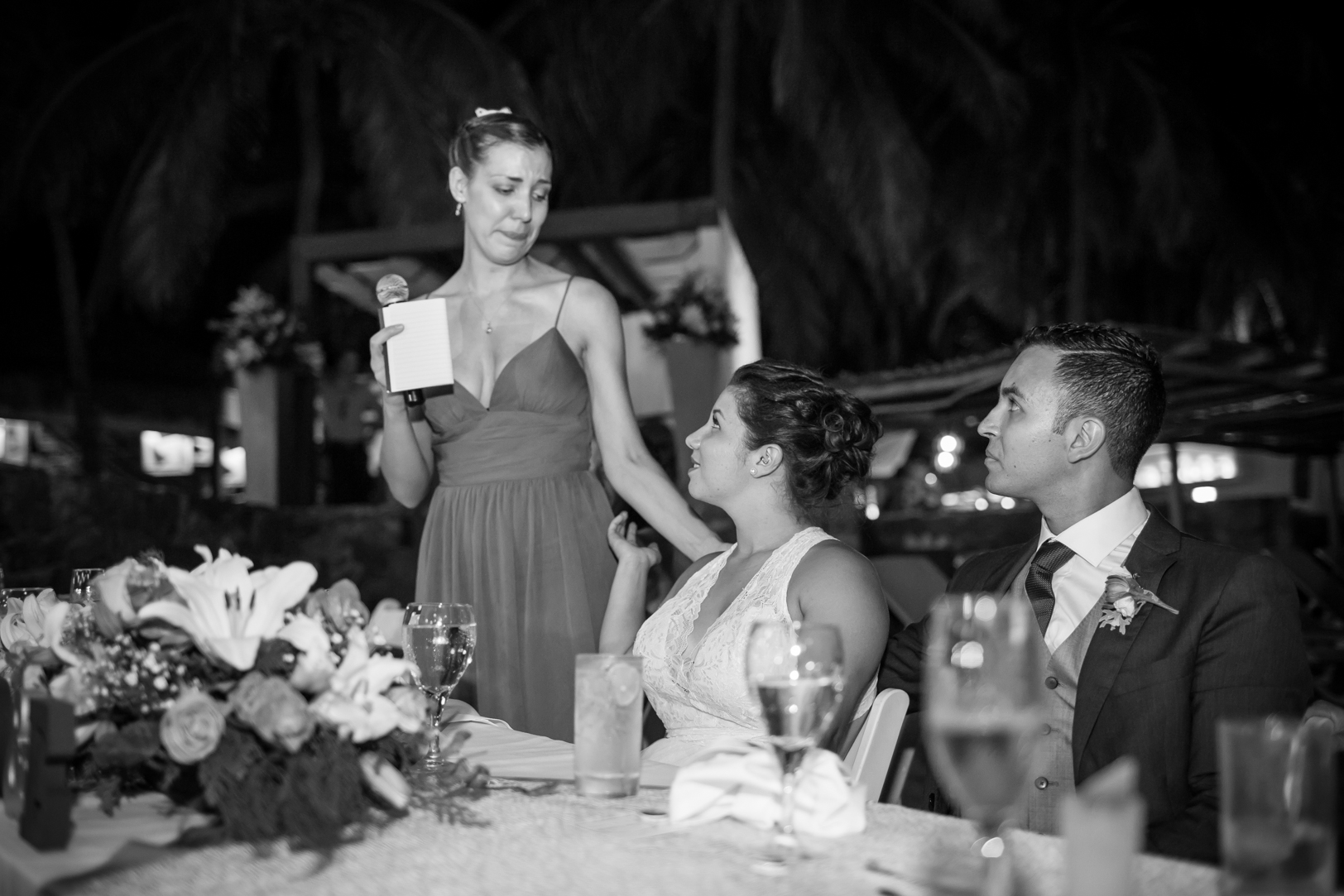 Maid of honour crying during her speech at Sunscape Dorado Pacifico Ixtapa destination wedding