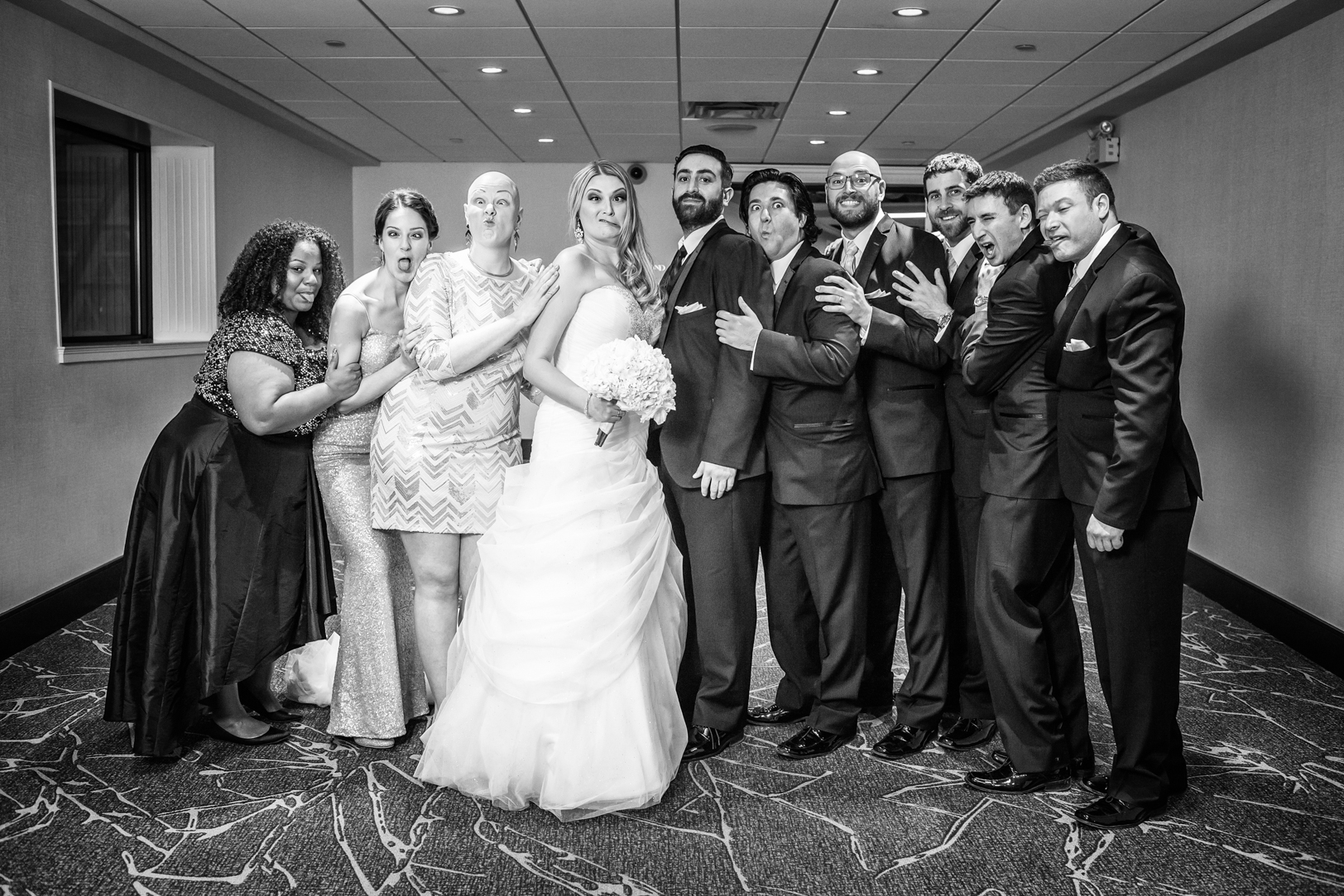 indoor wedding party portrait