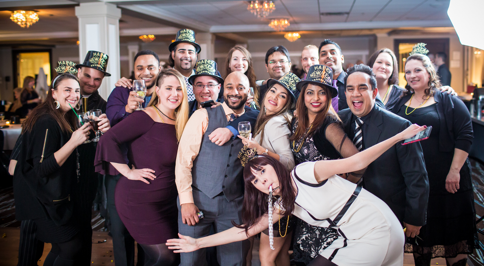 indoor wedding party portrait - New Years Eve Wedding Edmonton
