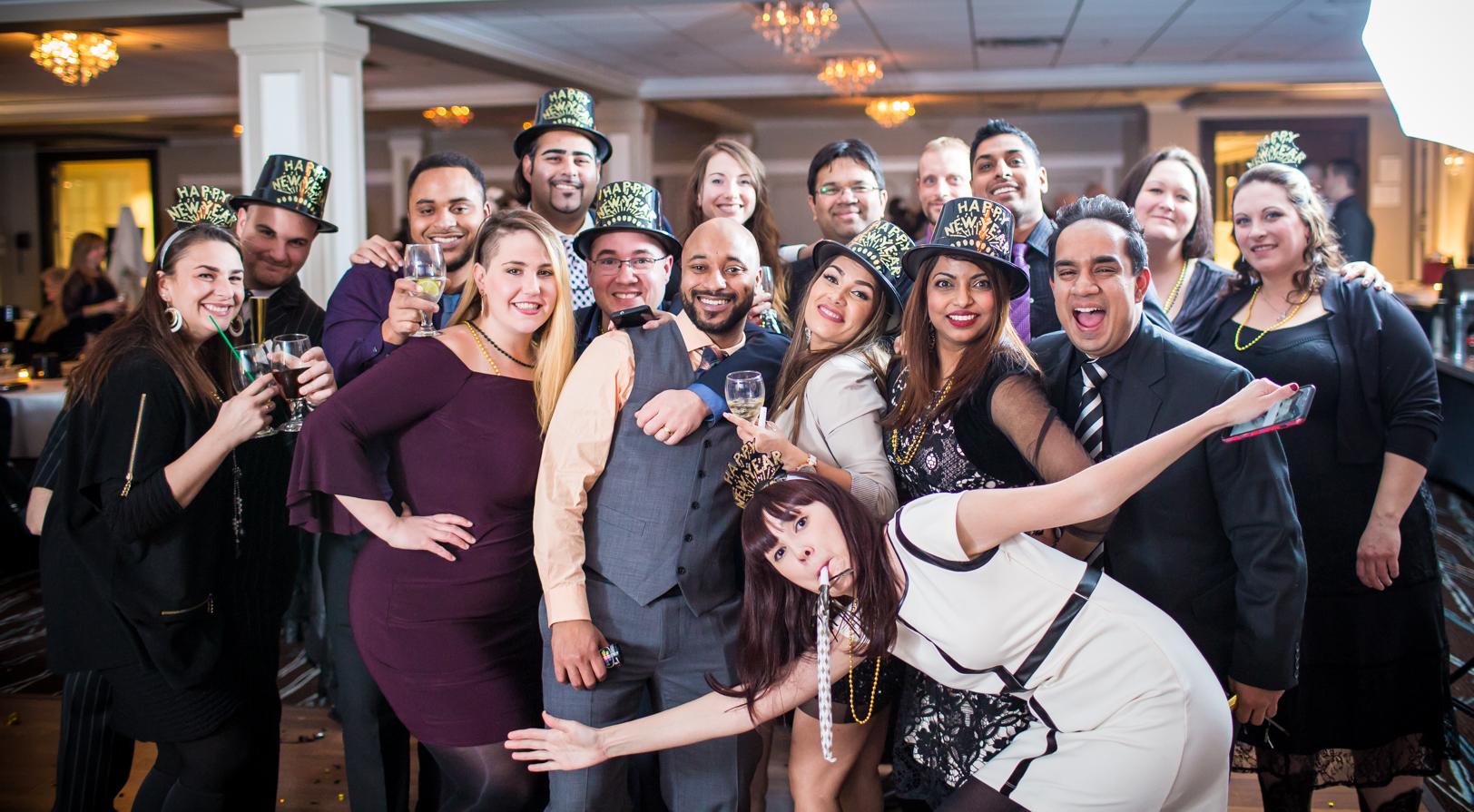indoor wedding party portrait - New Years Eve Wedding Edmonton