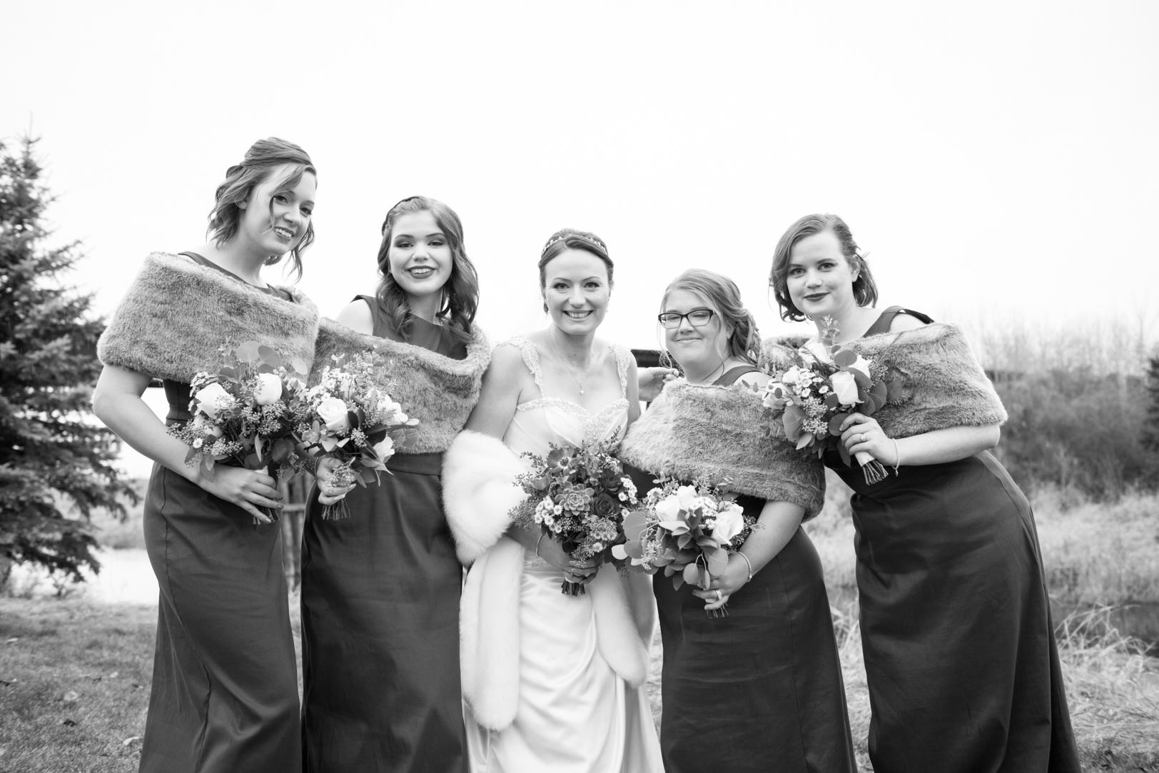 black and white bridal portraits