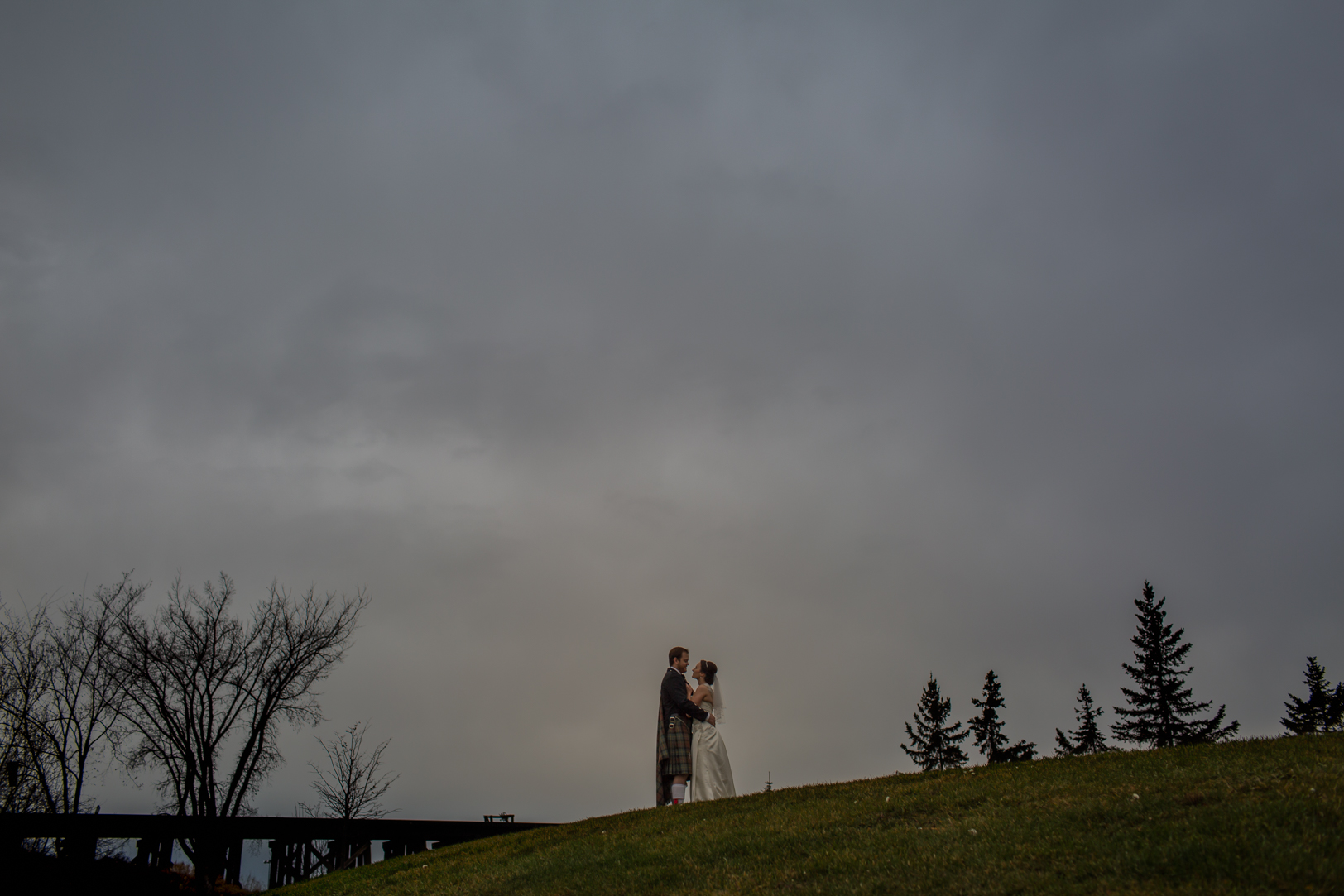 stormy weather wedding photo