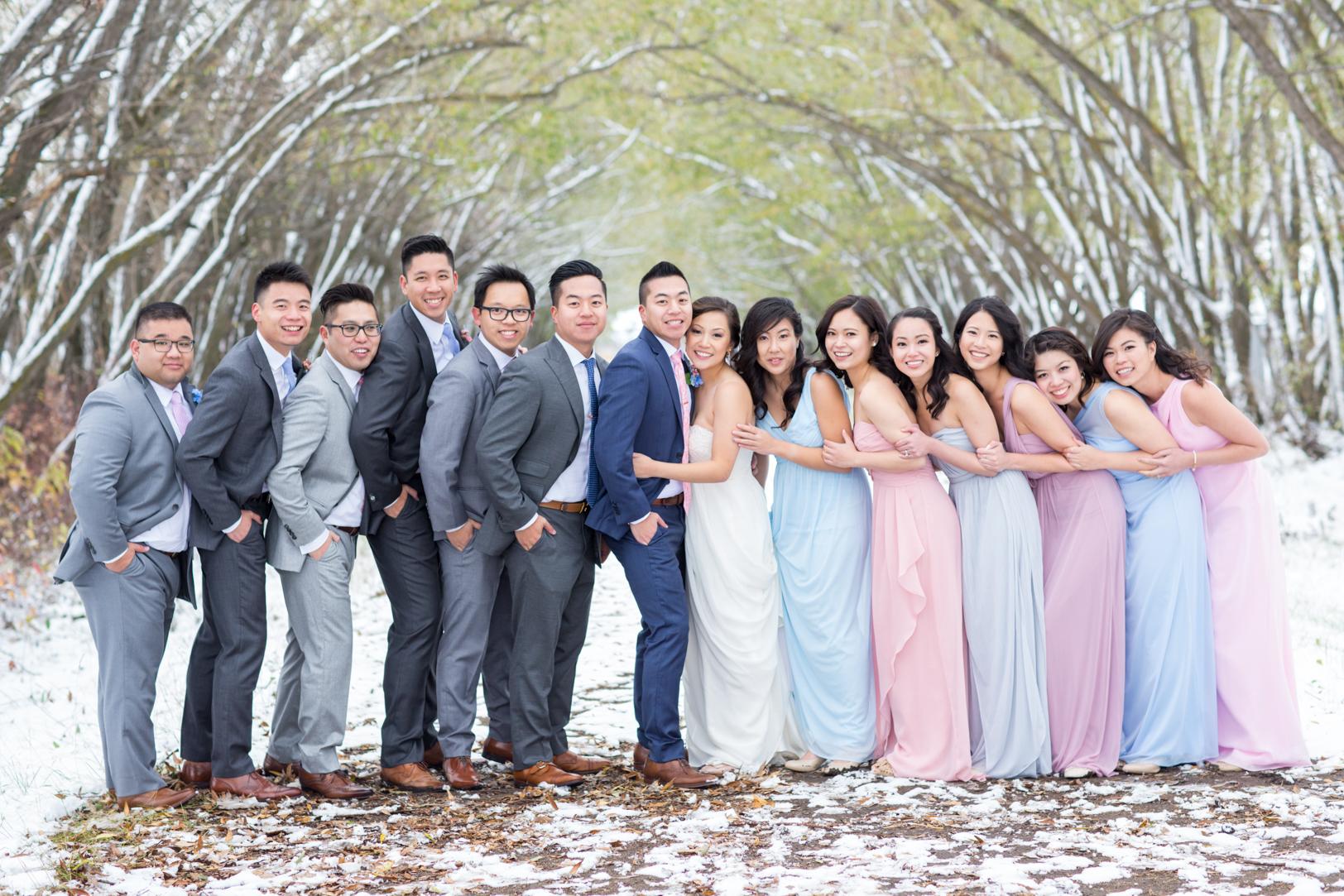 Picture of a Snowy Edmonton Autumn Wedding - Thy & Jeremy